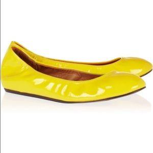 LANVIN yellow patent leather ballet flat size 5.5